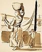 Maurice Barraud (1889-1954) [ORIENTALISME]. Porteuse d'oranges (Afrique du Nord). Vers 1925. Dessin, plume et lavis d'encre sépia su.