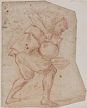 École italienne vers 1600 Homme portant une cruche Sanguine 20 × 16 cm de forme irrégulière Numéroté 27 en haut à gauche (Taches)