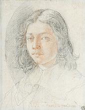 École italienne de la fin du XVIIe siècle Portrait d'homme en buste Sanguine et crayon noir 22,5 × 17,5 cm Annoté Philippe de Champa...