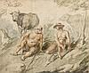 Suiveur de Jacob JORDAENS Mercure et Argus Aquarelle et rehauts de gouache blanche sur traits de crayon noir 24 × 29 cm Annoté au cr...