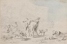 Nicolaes Pietersz BERCHEM (Haarlem 1620-Amsterdam 1683) Bergers et troupeaux Crayon noir et aquarelle 19,5 × 30 cm Annotations au ve...
