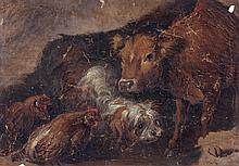 École de Benedetto CASTIGLIONE (Gênes 1609-Mantoue 1664) Une paire : études d'animaux de la ferme Huile sur papier 21,5 × 30,8 cm ch...
