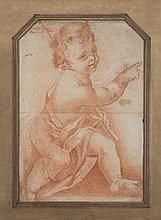 École italienne du XVIIIe siècle Saint Jean-Baptiste enfant Sanguine 57 × 39 cm (Coin supérieur coupé, déchirures, coupures, pliures...