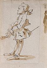 Giovanni Battista TIEPOLO (1696-1770) Caricature d'homme en pied de profil Plume et encre brune sur traits de crayon noir, lavis bru...