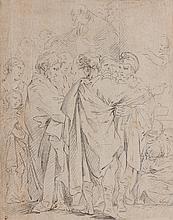 Attribué à François BOUCHER (1703-1770) Etude d'après Lucio Massari ? Crayon noir 26,5 × 21 cm Cachet de collection non identifié en...