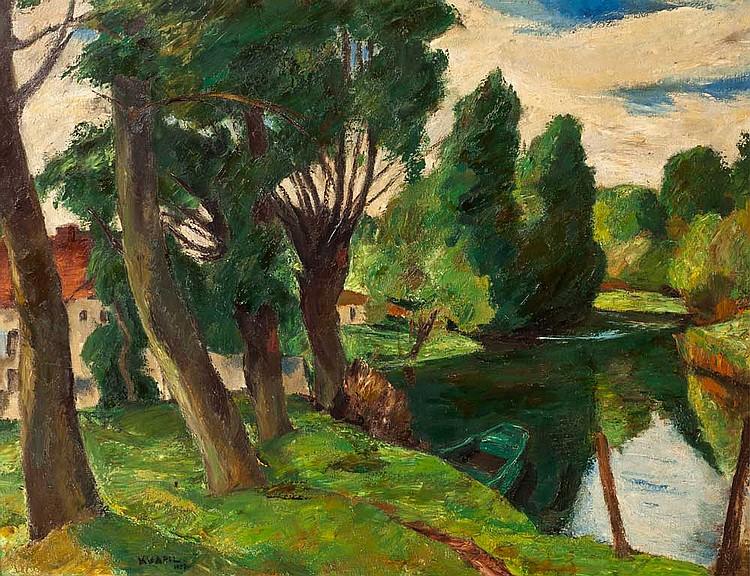 Charles KVAPIL (1884-1957) Arbres en bordure de rivière, 1927