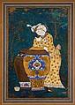 Échanson dans un paysage, Iran, style qâjâr Panneau de cuir peint, monté dans une page d'album aux marges brunes. Un jeune échanson coi