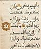 Folio de coran, Maroc, XVe siècle Folio inscrit de sept lignes de texte maghribî à l'encre noire, rehauts rouges et bleus pour les sign
