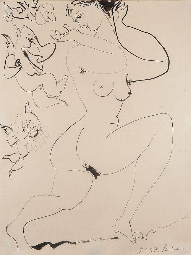 Pablo PICASSO (1881-1973) L'Amour masqué, 1954 Dessin à l'encre de Chine sur papier Signé et daté en bas à droite 32 x 24 cm Exposit.