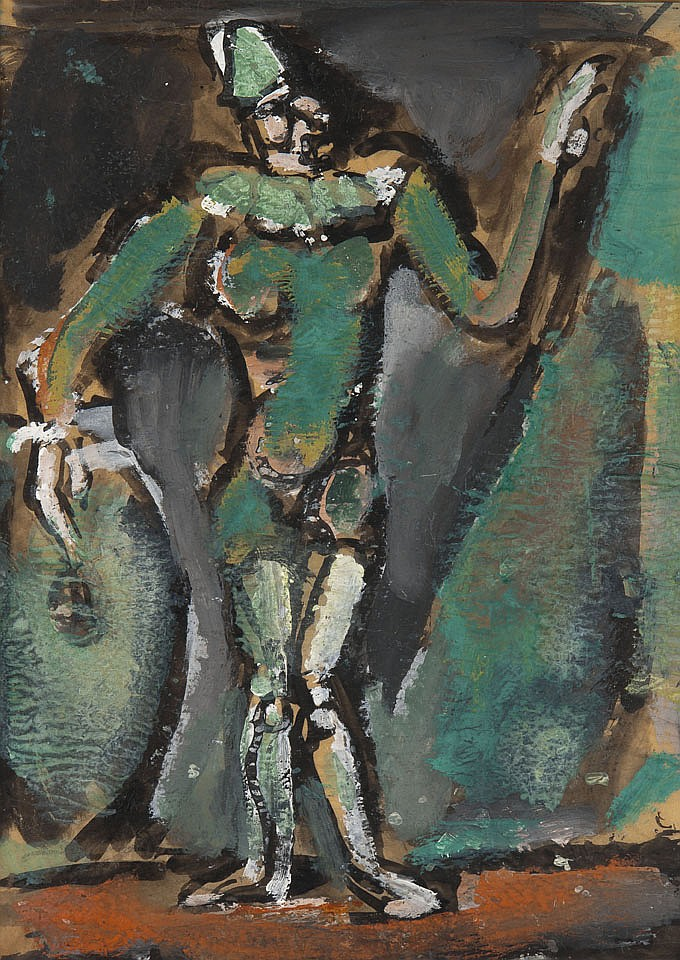Georges ROUAULT (1871-1958) Clown à la grosse caisse Gouache, lavis d'encre de Chine sur papier calque Porte l'inscription au dos du.