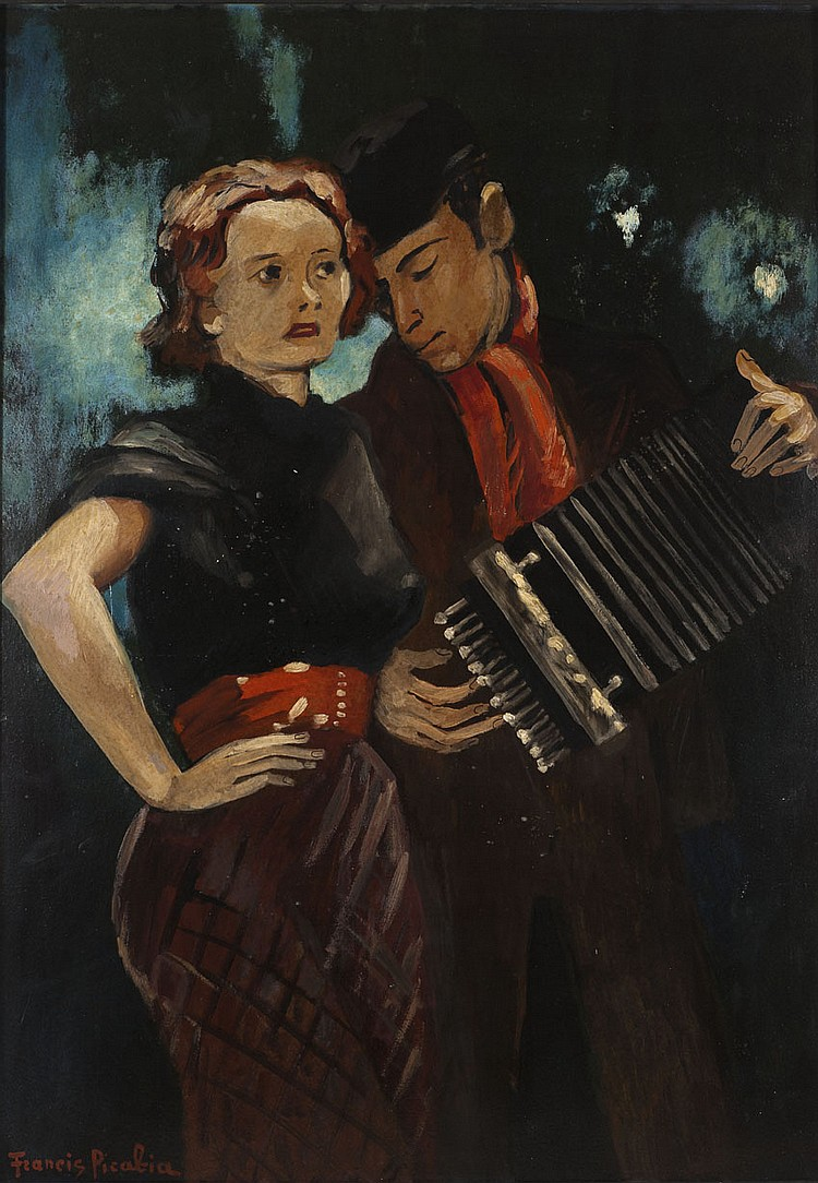 Francis PICABIA (1879-1953) L'Accordéoniste Huile sur carton Signé en bas à gauche 106 x 75,5 cm Provenance : vente Christie's, The .