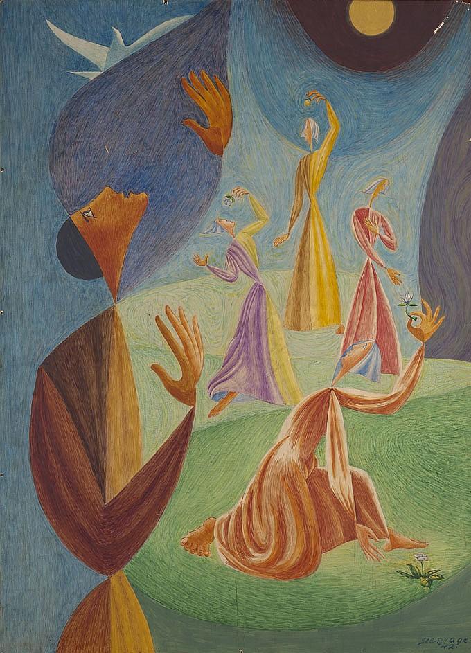 Léopold SURVAGE (1879-1968) Personnages à l'oiseau, 1942