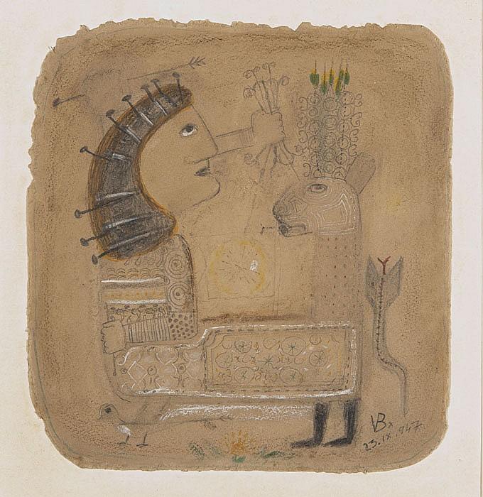 Victor BRAUNER (1903-1966) Sans titre, 1947 Dessin au crayon noir et crayons de couleur sur papier Signé du monogramme en bas à droi...