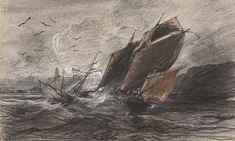 Jules NOËL (1810-1881) Navires dans la tempête