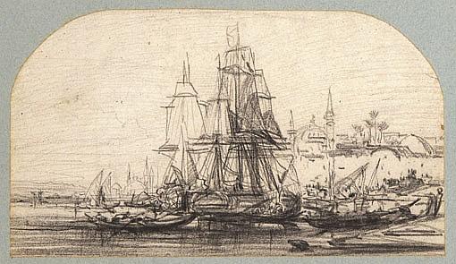 Jules NOËL (1810-1881) Navires accostés près d'une ville orientale