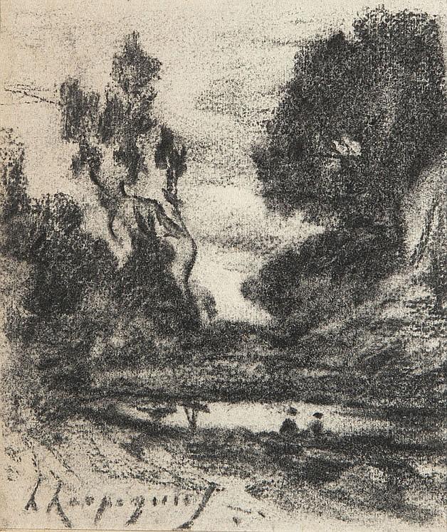 Henri-Joseph HARPIGNIES (1819-1916) Bord de mare animé