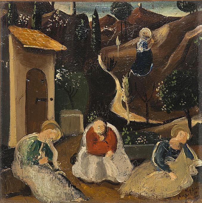 André DERAIN (1880-1954) Scène religieuse d'après Fra Angelico Huile sur toile Annotée en bas à droite