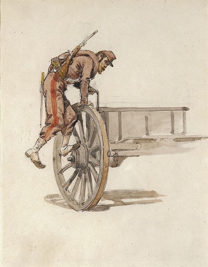 Isidore PILS (1813-1875) Soldat montant sur une charrette