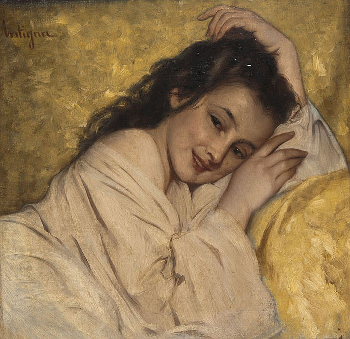 Jean-Pierre-Alexandre ANTIGNA (1817-1878) Jeune fille souriant