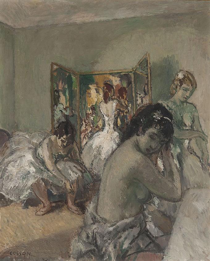 Marcel COSSON (1878-1956) Danseuses en coulisses