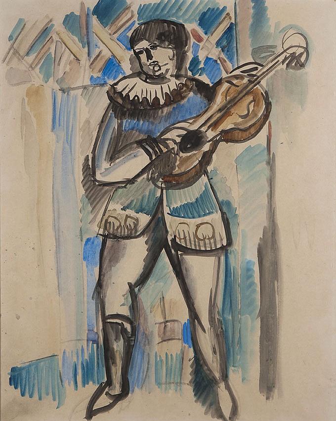 Raoul DUFY (1877-1953) Le Joueur de guitare Aquarelle sur papier 52 x 41 cm à vue Provenance : - vente Calmels-Cohen, Paris, 20 mars...