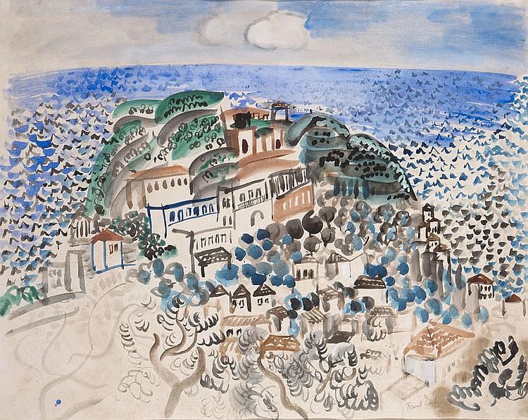 Raoul DUFY (1877-1953) Le Village au bord de la mer, 1922 Aquarelle sur papier Signé en bas à droite 50,5 x 64 cm Provenance : - Emi...