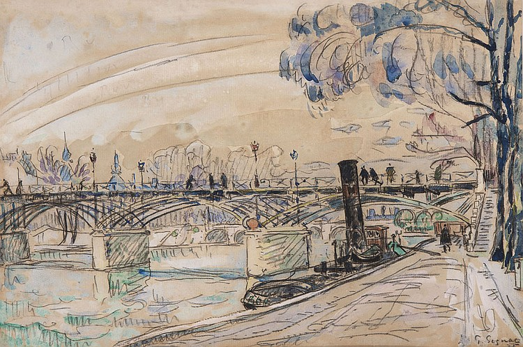 Paul SIGNAC (1863-1935) Le Pont des Arts, 1925