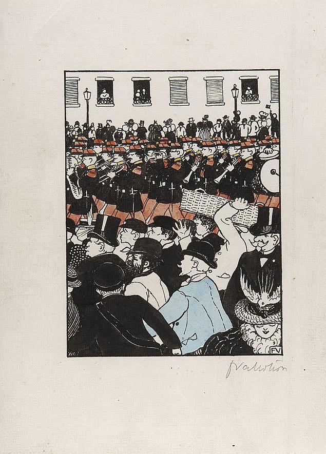 Félix VALLOTTON (1865-1925) Trente dessins pour Les Rassemblements, 1895 Crayon, encre de Chine et rehauts d'aquarelle sur vergé Dam..