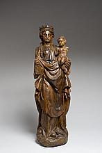 Vierge à l'Enfant en bois sculpté