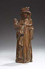 Vierge à l'Enfant en buis sculpté avec traces de polychromie, dos plat
