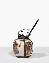 Pot à opium, Chine, début XXe siècle Céramique émaillée et bords cerclés de métal