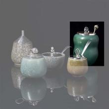 Royal copenhague Pot Couvert Céramique émaillée et argent Couvercle et cuillère signés W&S- Sorensen Edition Royal Copenhage...