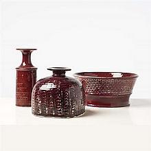 Stig Lindberg (1916-1982)Ensemble de trois vases