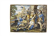 . Castelli Plaque rectangulaire à décor polychrome d'une scène biblique : un roi atteignant les mains jointes les portes d'une vil...