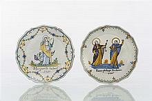 Nevers Deux assiettes à bord contourné à décor polychrome patronymique l'une de sainte Marguerite et l'inscription Marguerite Habert