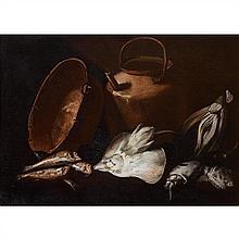 Giuseppe RECCO(Naples 1634-Alicante 1695)Seiches et fenouil près d'une bassine en cuivreToile74 × 100 cm