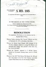 Phil Rizzuto Signed Hall of Fame Resolution JSA K10821