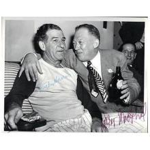 Larry MacPhail Bucky Harris HOF 1947 Yankees signed autograph B&W photo JSA X55651