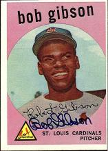 1959 Topps Bob Gibson Autographed Rookie Card #514 Global Certified
