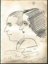 1930-40's Vincent Zito Caricature of Gracie Allen Signed by Allen JSA Y31549