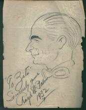 1930-40's Vincent Zito Caricature of Ralph DePalma Signed by DePalma JSA Y31547