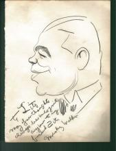 1930-40's Vincent Zito Caricature of Mickey Walker Signed by Walker JSA Y31543