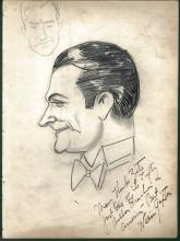 1930-40's Vincent Zito Caricature of William Gaxton Signed by Gaxton JSA Y31544