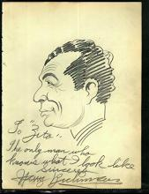 1920-30's Vincent Zito Caricature of Harry Richman Autographed by Richman