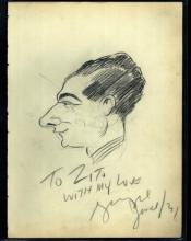 1920-30's Vincent Zito Caricature of George Jessel Autographed by Jessel