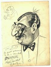Vincent Zito Caricature of Harry Rosenthal Autographed by Rosenthal Dated 1924
