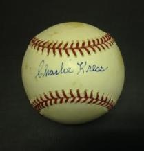 Charlie Kress Signed Leonard Coleman Baseball