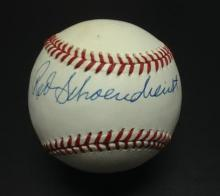 Red Schoendienst Signed Leonard Coleman Baseball