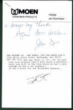 Spider Jorgensen Signed Letter