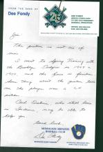 Dee Fondy Signed Letter